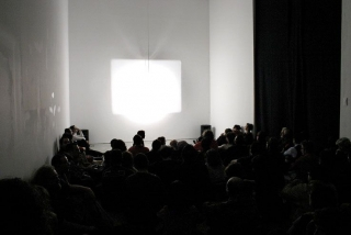 "Projection of ""Castle 1"" (Malcolm Le Grice, 1966) at ""Shoot Shoot Shoot"", Deste Foundation, Athens, on 8 March 2004. Photographer unknown. Requests for publication should be directed to Xenia Kalpaktsoglou at Deste Foundation Centre for Contemporary Art. Email <deste/>"