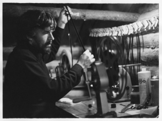 Stan Brakhage editing in Rollinsville, Colorado 1978. Photograph by Sally Dixon.